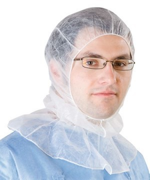 Clean room hoods, white, PP non-woven, one size