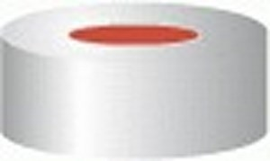 Aluminium crimp caps, N20 TB/oA, with sealing disks, Butyl / PTFE, red / grey, pack of 100