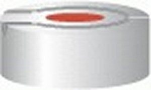 Aluminium crimp caps, N20 TB/HS, with burst protection and sealing disks, Butyl / PTFE, red / grey,pack of 100