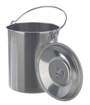 Container, st. steel, with lid and handle, capacity 5 l