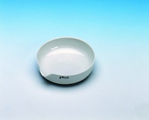 Evaporating dish, porcelain, flat, diam. 100 mm, height 20 mm, 100 ml