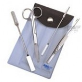 Chemist's set, st.steel, 4 pcs., in artificial leather case