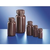 Bottle, wide mouth, PELD, amber, with screw cap, capacity 1000 ml