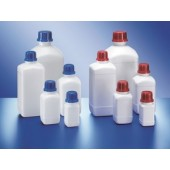 Bottle, narrow mouth, PEHD, square, white, without screw cap, capacity 1000 ml