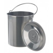 Container, st. steel, with lid and handle, capacity 10 l