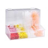 Dispenser boxes, acrylic, 2 chambers, 140 x 160 x 215 mm