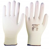 Nylon PU-gloves,white,palm and fingertips PU size XL,p pair