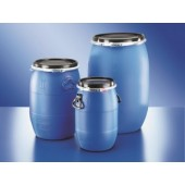 Wide neck UN-drum, PEHD, round, with lid and clamping ring, capacity 30 l